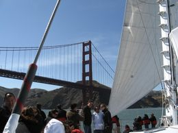 Picture shows a view from the catamaran as we are approaching the Golden Gate Bridge, Diana B - June 2008