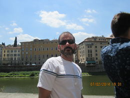 Standing in front of famous Arno River. , Sal S - July 2014