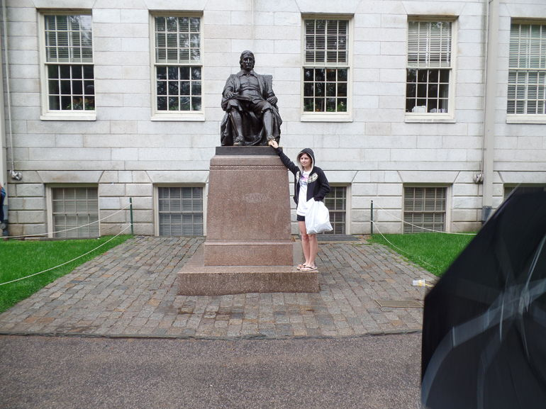 Harvard university, rub the shoe for good luck