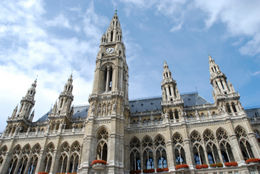 Photo of   The towers of City Hall (Rathaus) in Vienna
