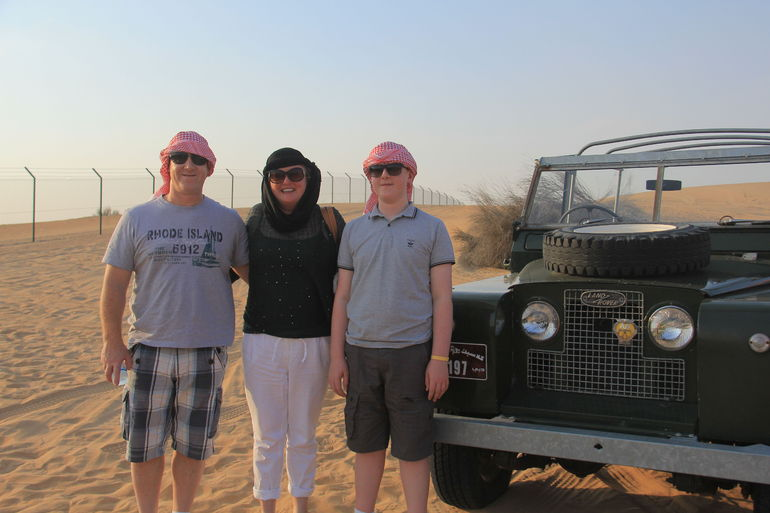 This is us prior to our dessert safari in open toped Land rovers!