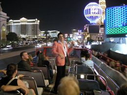That's Elvis, singing on our open-top bus tour on the Las Vegas strip. Apparently other nights there's Cher, Elton John, Marilyn Monroe. Yes, Las Vegas is a strange place., Jeff - February 2008