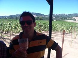 Relaxing with wine while riding through the vineyards, taylor - August 2013