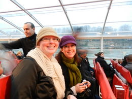 Kyla and Elizabeth enjoying the Seine River Tour, courtesy of the Paris Pass! , echalley - January 2012