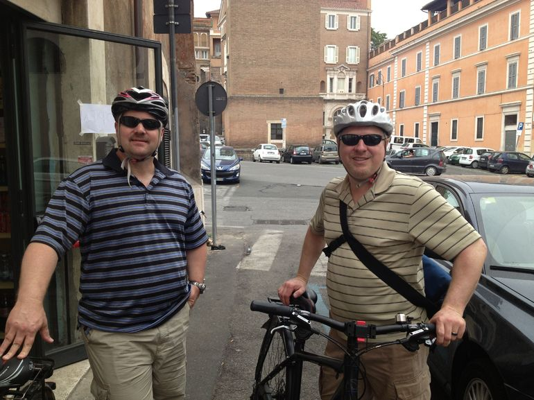 Getting Ready for the bike ride - Rome