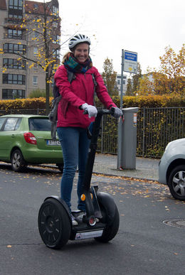 Mieke Oost on a segway on Friday October 23rd. , Pieter O - October 2015