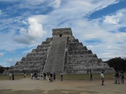 """This pyramid was the main focus of a Mayan religious ceremony celebrating the spring and fall equinoxes when the sun god """"died"""" and was reborn., Sarah N - January 2010"""