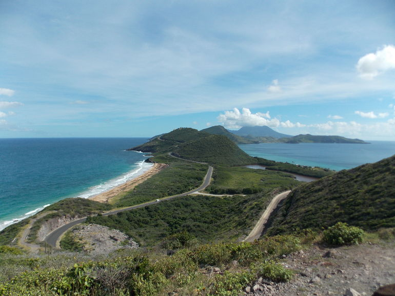 View from Timothy Hill - Caribbean Sea on right, Atlantic Ocean on left
