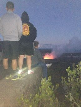 Photo of Big Island of Hawaii Small-Group Tour: Hawaii Volcanoes National Park and Evening Lava Adventure tourist backsides trying to see the volcano