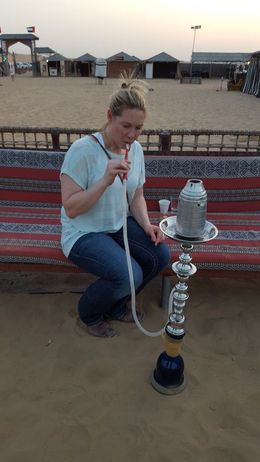 First time on the hookah. After riding the dunes, before dinner and the show. , JoLyn B - September 2015