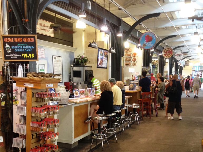 Some of the French Market's food shops and counters. The open-air pavilion is fun and colorful and is a great place to sample several traditional New Orleans dishes. We had gumbo, muffuletta and pralines.