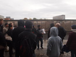 Our guide explaining Berlin's history in front of the Berlin Wall, Rachel - November 2013