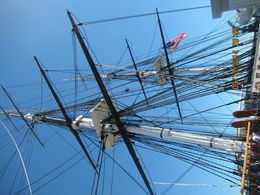 Just a little part of the USS Constitution ship with the American Flag flying , Levada C - October 2014