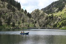Photo of Barcelona Pyrenees Mountains Small Group Day Trip from Barcelona Boating on the lake at Valle de Nuria