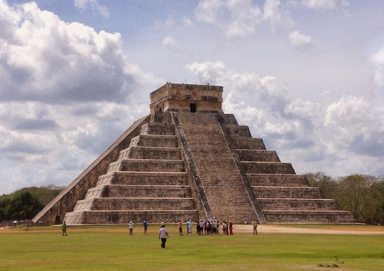 El Castillo, taken from the edge of the ball court