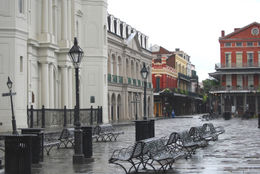 Jackson Square in the French Quarter of New Orleans is shown empty during curfew imposed due to Hurricane Gustav on September 2, 2008 - May 2011