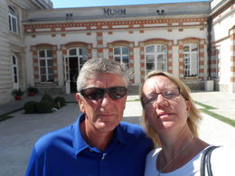 Photo of Champagne G.H. Mumm Champagne House Cellar Tour Gary  and  Karen outside the Mumm House
