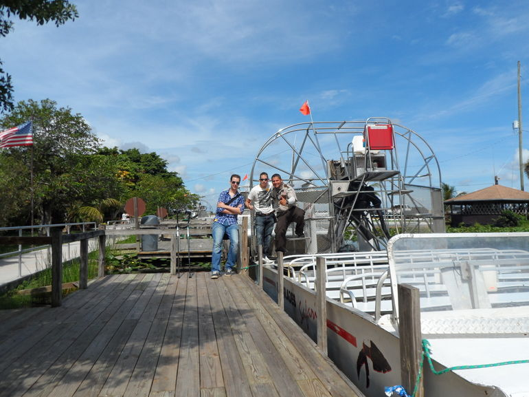 our airboat tourguide and us - Miami