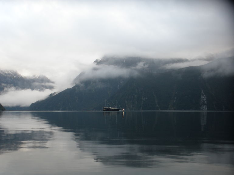Waking up in the morning to eerie misty Milford - just fantastic - Fiordland & Milford Sound