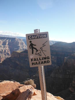 Photo of Las Vegas Grand Canyon West Rim Air and Ground Day Trip from Las Vegas with Optional Skywalk warning sign