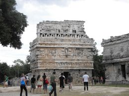 I am not sure what this building was, but it had really interesting Mayan carvings on it., Sarah N - January 2010