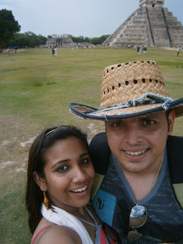 selfie taken in front of Chichen itza. , Debdeep B - May 2014