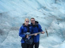 Photo of Franz Josef & Fox Glacier Small-Group Franz Josef Glacier Walk holding the pick axe