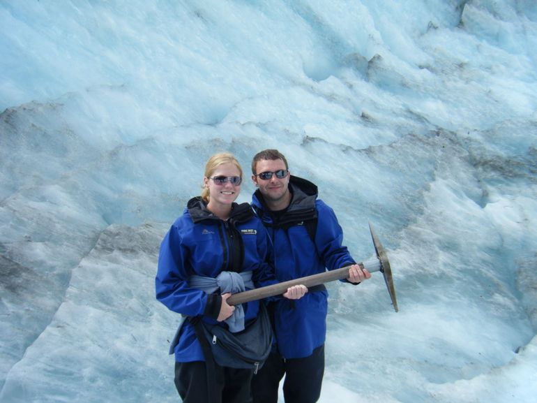 holding the pick axe - Franz Josef & Fox Glacier