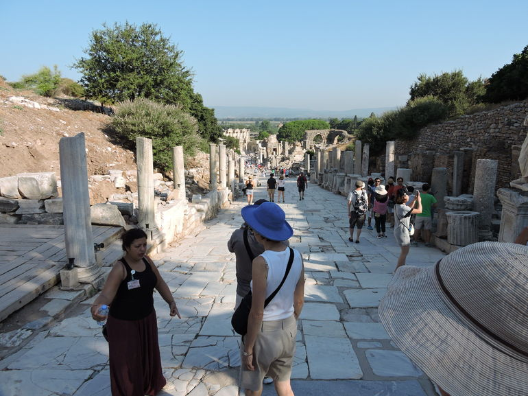 Walking through Ephesus with our guide.