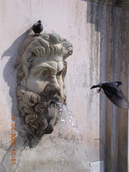 A small fountain in the Vatican Museum, Olivia Z - May 2009