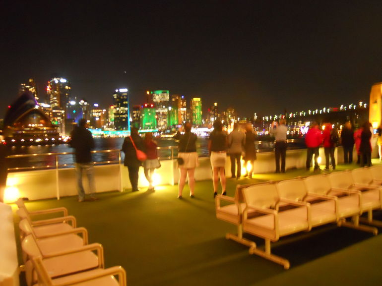 View from top deck of harbour lights 9 June 2013 - Sydney