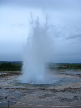 Photo of Reykjavik Golden Circle Evening Trip from Reykjavik Strokkur geysir under the midnight sky