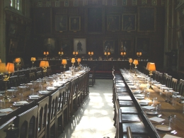 This hall was used in the Harry Potter movies with the director cleverly turning three rows of table into four to stay true to the novel., Thomas W - June 2010