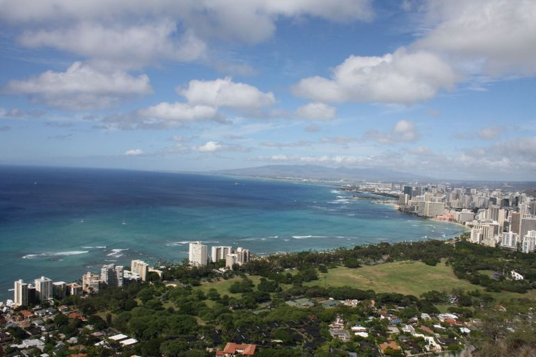 View at top of Diamond Head - Oahu