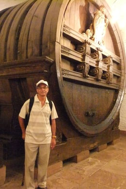Mario by a giant Wine Barrel at Heidelberg Castle during Heidelberg and Rhine Valley Day Trip from Frankfurt , Mario S - July 2014