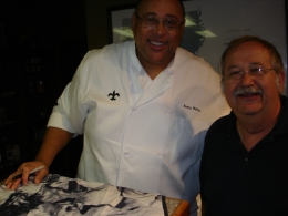 "Kevin Bolton signed my Three Stooges Apron to ""My Best Student."" I'm Bob on the right., Robert M - November 2010"