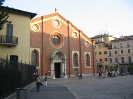 School children playing in the piazza near the cenacolo of Santa Maria delle Grazie., James W - September 2007