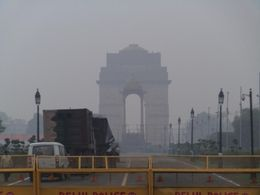 Rajpath and India Gate barricaded with Army vehicles. , Stephen D - March 2015