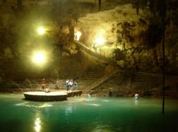 Deep in the earth there is a wonderful underground cenote pool on our way to the pyramids. The cave was fascinating. Found hand prints that were thousands of years old. Fantastic!, Jeanine C - May 2010