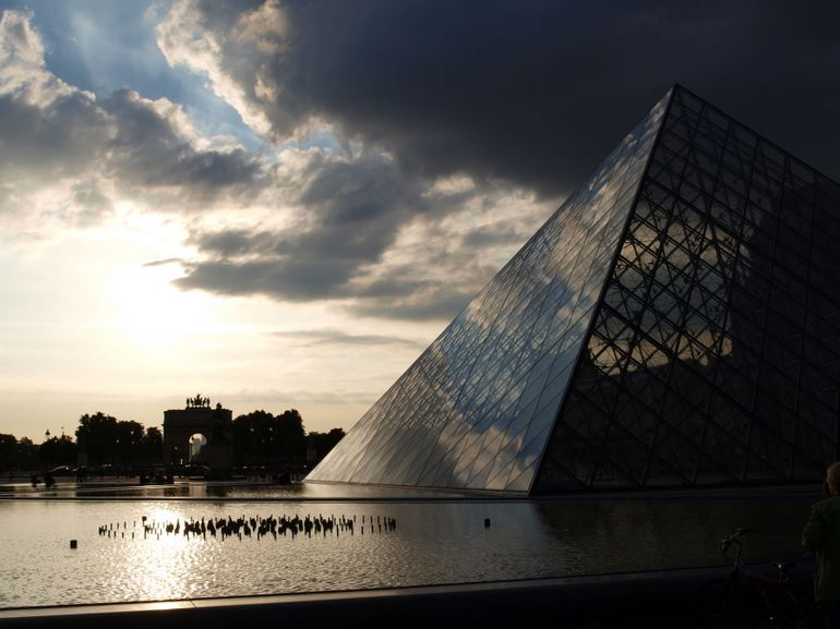 Louvre Pyramid and Archway at Sundown - Paris