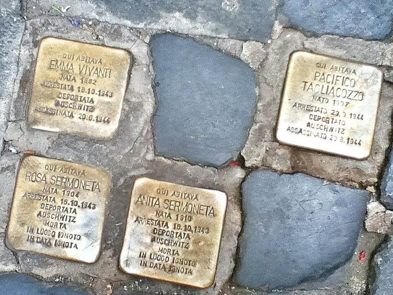 cobblestones replaced with memorial stones - Rome