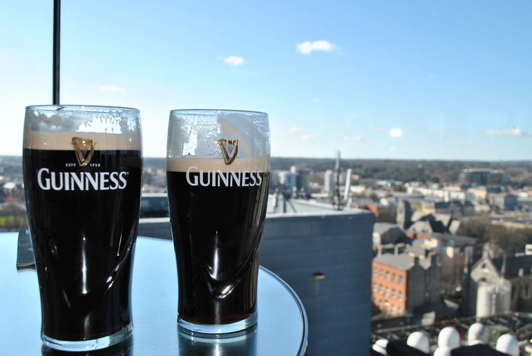 Having a pint at the Gravity Bar. - Dublin