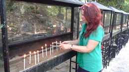 I am lighting some candles at mother mary's house. , KATHLEEN M - July 2014