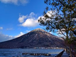 Mount Nantai, Nikko's sacred volcano towers over Lake Chuzenji , Matthew D - December 2015