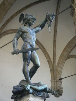 The statue is displayed in the Piazza Signoria, Virginia R - July 2009