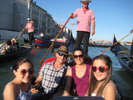 My family and I riding a gondola through Venice. , Mireya T - July 2012