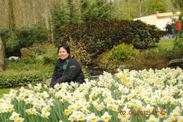 I have never seen real daffodils before and seeing these, I'm happy to pose with them. , Catherine C - May 2012