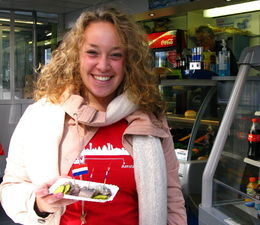 My guide Davinia, with herring. - October 2013