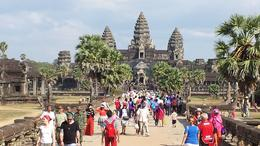 Photo of Siem Reap Private Tour: 3-Night Angkor Temples and Tonle Sap Lake by Tuk-Tuk Approaching Angkor Wat