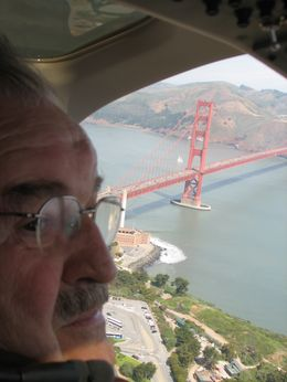 My Dad was seating as the co-pilot and had a first class view of the Golden Gate Bridge! - August 2009